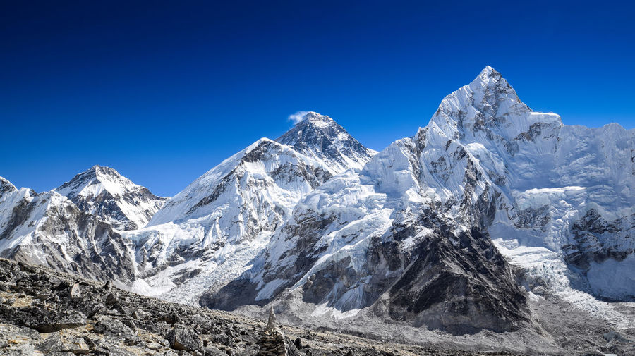 Panoramic view of nuptse and mount everest seen from the khumbu glacier