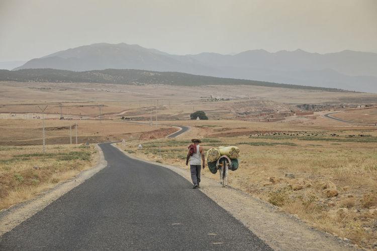 Rear view of people walking on road in desert