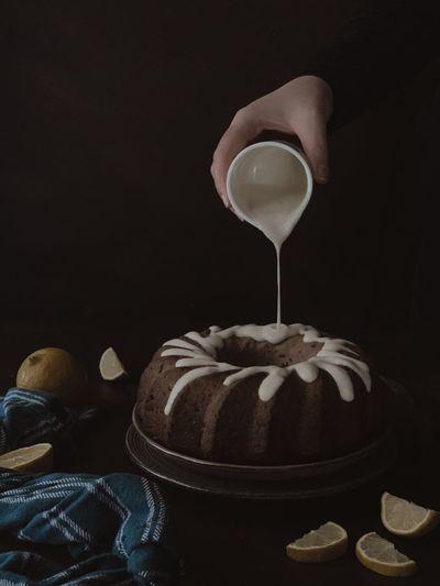 Bundt cake with white glaze