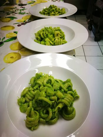 Food Healthy Eating High Angle View Pesto Sauce Freshness Food And Drink No People Green Color Italian Food Indoors  Plate Ready-to-eat Pesto Pesto Alla Genovese Ale Milano Food And Drink