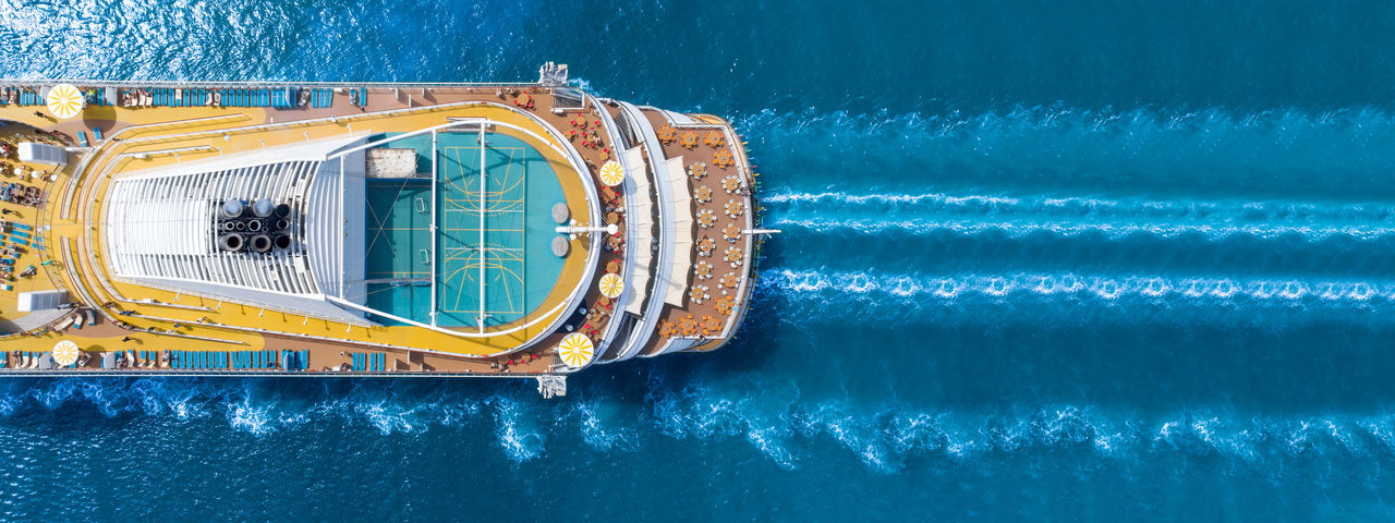 Aerial view of ship on sea