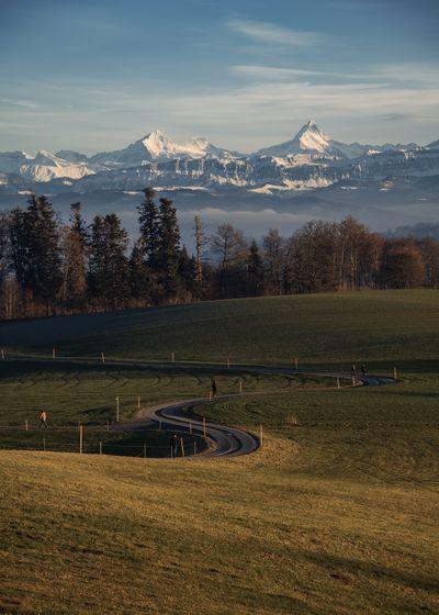 Mountain Range Field Outdoors Landscape Idyllic Mountain Environment Evening Sun Snowcapped Mountain Mountain Peak Gurten Swiss Alps