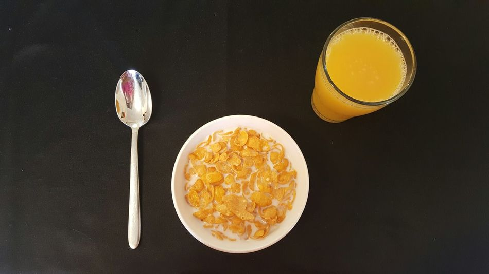 Breakfast Petit Dejeuner Früstück Cornflakes Milk Bowl Spoon Glass Orange Juice  OJ  Black High Contrast Orange Left Handed Bold Bold Colors 43 Golden Moments Morning Cereal Food Home Is Where The Art Is Colour Of Life Bird's Eye View