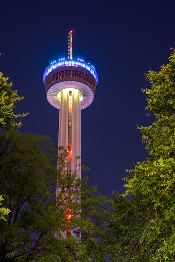 Built Structure Architecture Night Sky Illuminated Plant Nature Building Exterior Tree Low Angle View Tower No People Outdoors Tall - High Travel Destinations Travel Building Clear Sky Water Tower - Storage Tank Global Communications Tower Of Americas San Antonio, Texas Tourist Attraction  Place To Visit