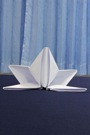 Napkin Folding NapkinFolding Napkins Aerospace Industry Air Vehicle Airplane Architecture Art And Craft Blue Close-up Day Hotel Service Indoors  Mode Of Transportation Modern Napkin Nature No People Paper Restaurant Still Life Transportation Travel Wall - Building Feature White