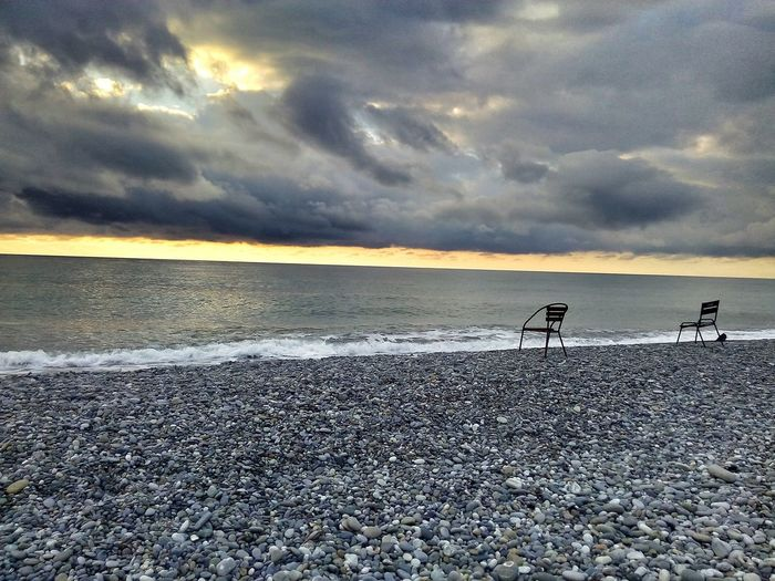 Sochi Sochi Beach Sochi December Empty Beach Sochi Sunset Two Chairs Romantic Sky Romantic Sadness Finding New Frontiers Perspectives On Nature