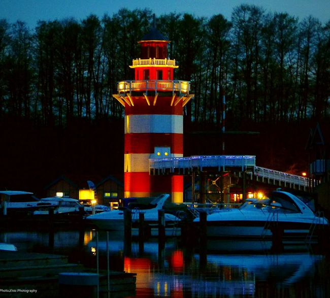 Cities At Night Müritzsee Lighthouse Germany
