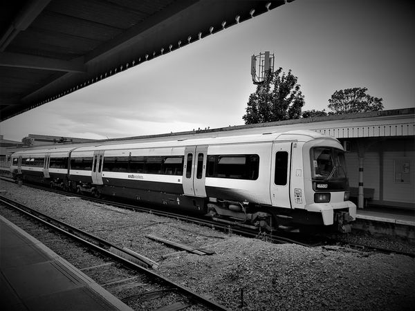 A shot of a 2 Coach Southeastern Shuttle Train at Sheerness on Sea (Black and White) Black And White British Railways Day End Of The Line Mode Of Transport No People Outdoors Public Transportation Rail Transportation Sheerness Sheerness On Sea Sky Southeastern Trains Train - Vehicle Train Station Train Tracks Trains Trains_worldwide Trainsportation Trainspotter Trainspotting Trainstation Trainstations Traintracks Transportation