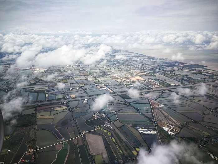 Landscape City Aerial View Sky Cloud - Sky Landscape Foggy Patchwork Landscape Sky Only Agricultural Field Cultivated Land Cloudscape Fluffy Meteorology Heaven Urban Skyline