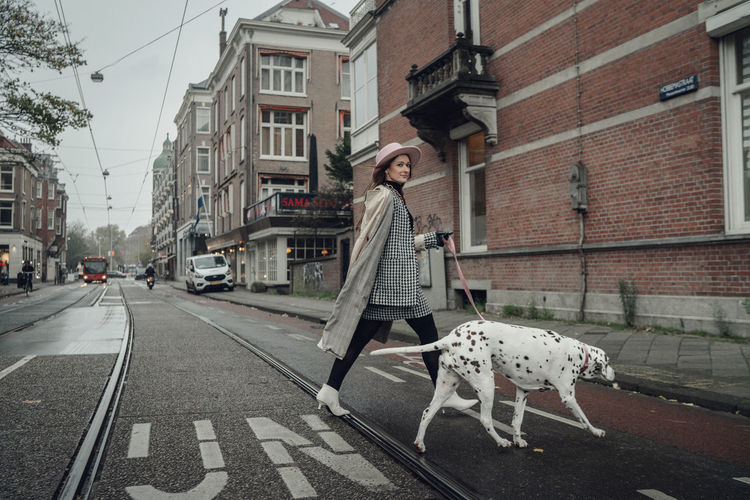Woman on street in amsterdam city