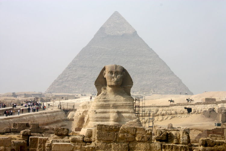 Ancient Ancient Civilization Cairo Copy Space Day Egypt Famous Place Fog Geology Historic History International Landmark Outdoors Religion Rock Rock Formation Sphynx Tourism Travel Travel Destinations