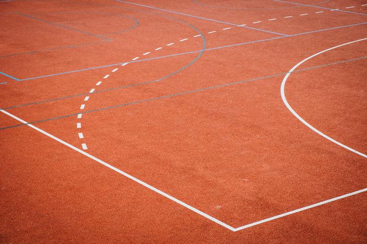 High angle view of basketball court