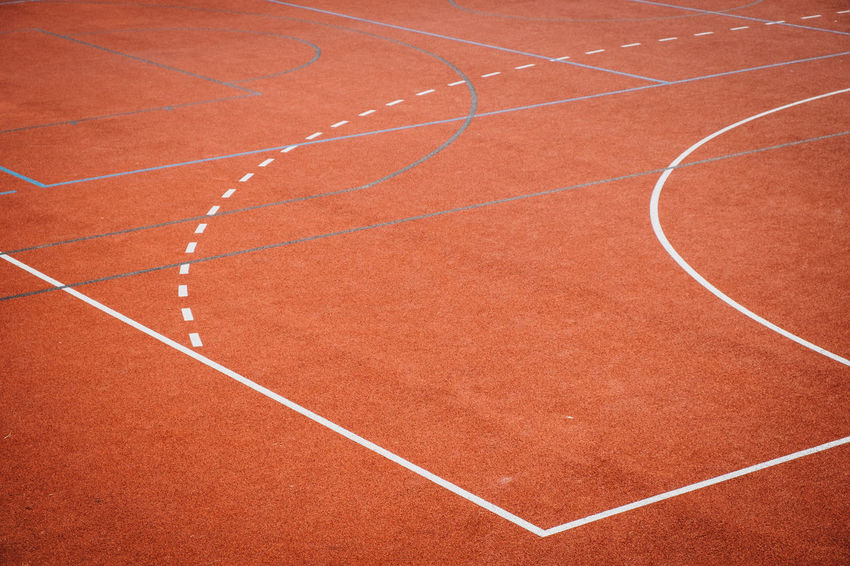 Orange Absence Backgrounds Competition Competitive Sport Court Curve Day Dividing Line Empty Full Frame High Angle View Nature No People Outdoors Playground Playing Red Running Track Single Line Sport Track And Field White Color Yard Line - Sport