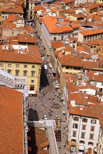 The view on the red tile roofs of houses. Florence, Italy. Italy Florence Firenze Travel Tourism Sightseeing Landmark Architecture Building Exterior City Cityscape Residential District Crowd High Angle View Town Aerial View Toscana Roof TOWNSCAPE Community Roof Tile Europe Medieval Duomo Di Firenze Piazza