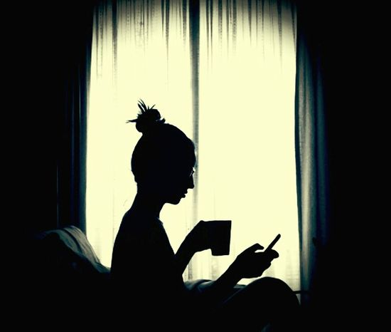Indoors  Silhouette Mobile Phone Using My Mobile Drinking Window Using Technology Having Tea Cup Cup Of Tea Mobile Conversations