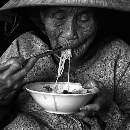 Eating vietnamese noodle