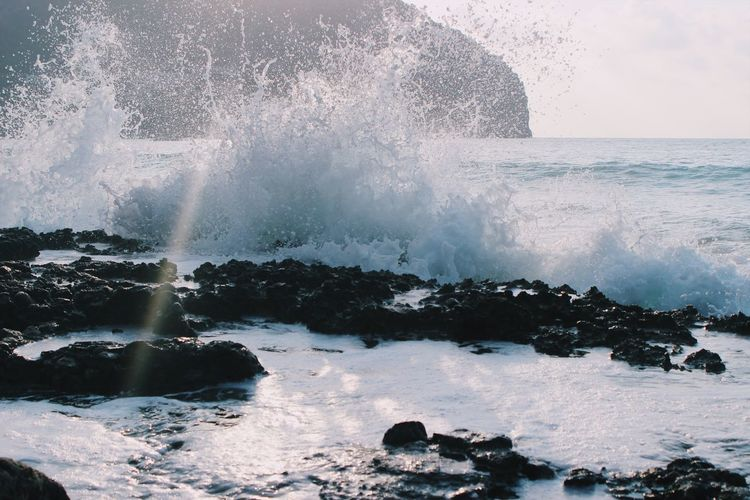 Sea Water Motion Power In Nature Beauty In Nature Nature Wave Breaking Splashing Horizon Over Water No People Crash Outdoors Force Beach Hitting Scenics Sky Day Waveafterwave