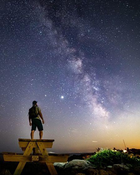 Full length of man standing against sky at night
