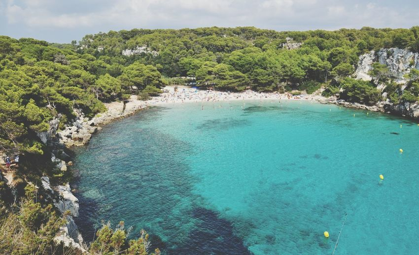 cala macarella on menorca balearic island in spain Menorca SPAIN Mediterranean  Travel Idyll Paradise Menorca Baleares EyeEm Selects Tree Water Sea Beach Blue Summer Idyllic Social Issues Turquoise Colored Sky Turquoise Lagoon Pine Tree Coastline Seascape Island Pinaceae