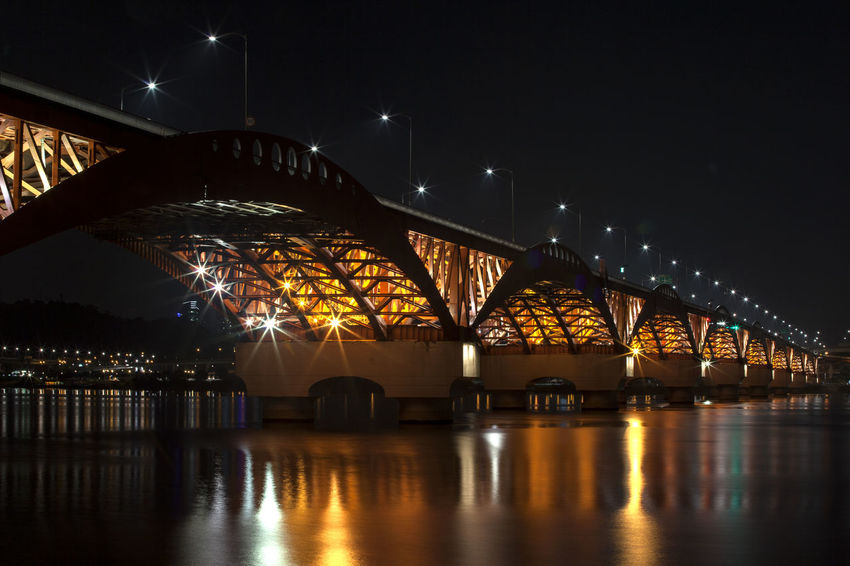 Architecture Bridge - Man Made Structure Built Structure City City Life Connection Dark Engineering Glowing Han River Hangang Illuminated Light Night Night View No People Outdoors Reflection River Seongsandaegyo Sky Travel Destinations Water