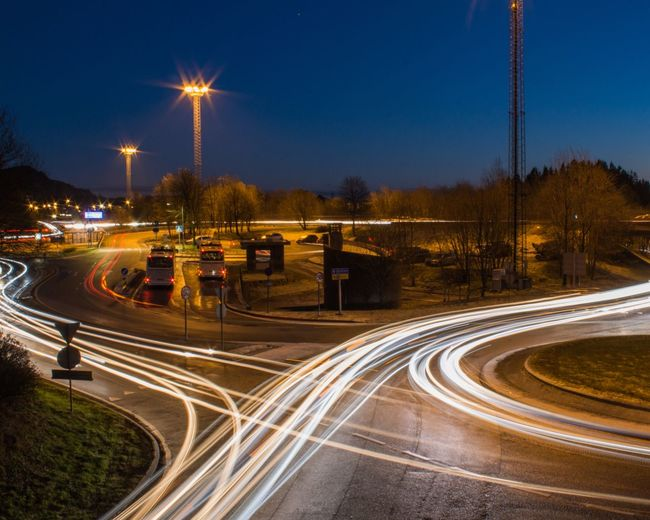 Illuminated Night Transportation Road Motion Light Trail Street City Long Exposure Sky Street Light Mode Of Transportation Speed Lighting Equipment Traffic Curve Outdoors Connection No People