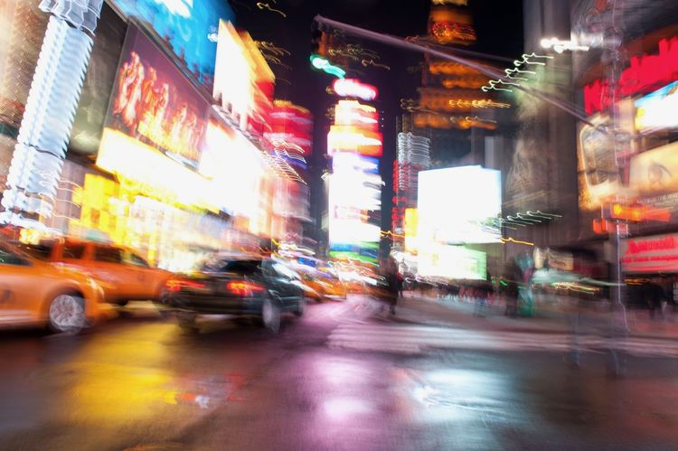 Architecture Blur Blur Motion Blurred Motion Building Exterior City Illuminated Movement Photography Multi Colored Neon New York City Night Times Square At Night Traffic Travel Destinations