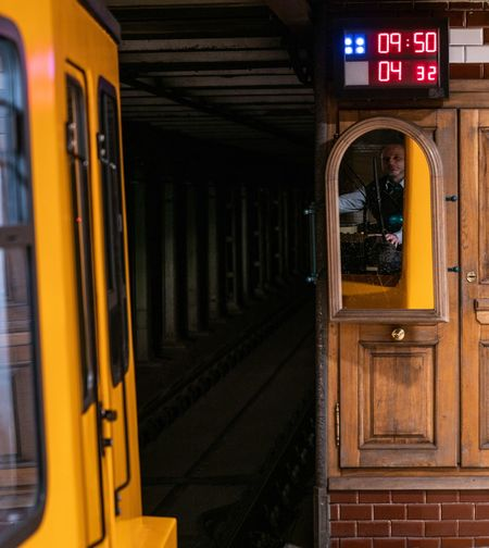 All aboard Budapest Hungary Subway Mirror Communication Sign Text Western Script Door Transportation Train Public Transportation Train - Vehicle