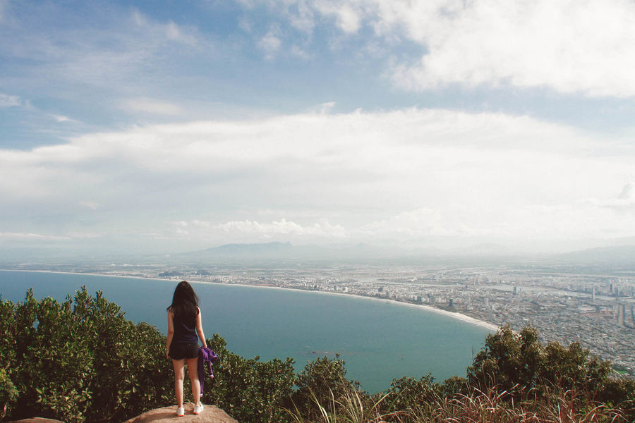 Summer view from the top of the mountain to Da Nang, Vietnam Clouds And Sky Da Nang Mountain Ocean Girl Summer Views Traveling Vacation Vietnam