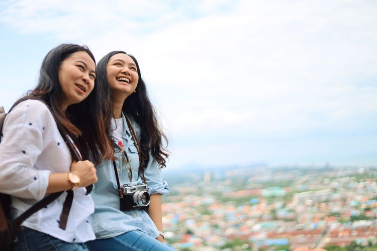 City Architecture Young Adult Happiness Togetherness Smiling Friendship Two People Young Women Emotion Women Adult Building Exterior Bonding Cityscape Casual Clothing Hair Day People Outdoors Positive Emotion Hairstyle