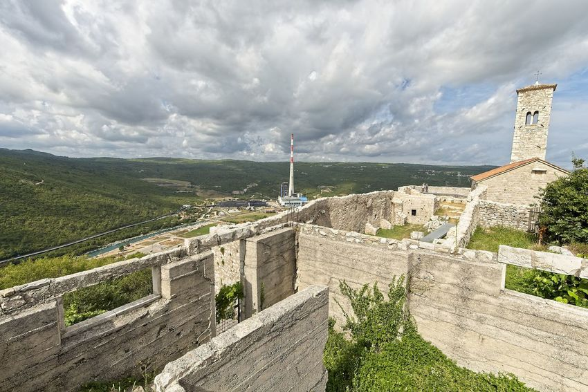 Ancient city Plomin, bay and power station in a Summer. Istria, Croatia. Ancient Architecture Castle City Croatia Mediterranean  Paved Ruins Adriatic Bay Cloud - Sky Cobblestone Europe High Angle View Historic Istria Medieval Paved Path Plant Plomin  Stonewall Summer Tourism Tower Travel