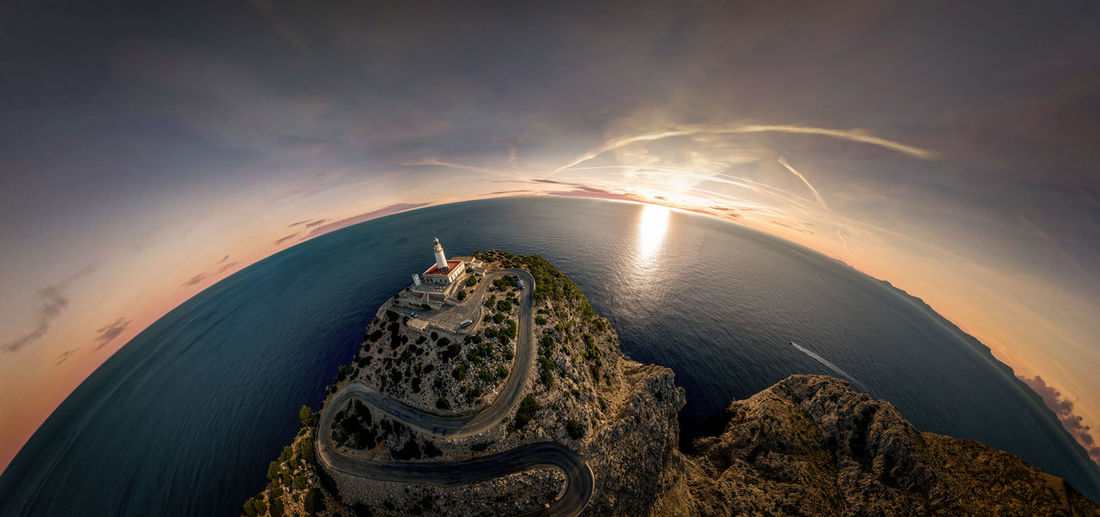 Spherical panorama from a lighthouse on mallorca