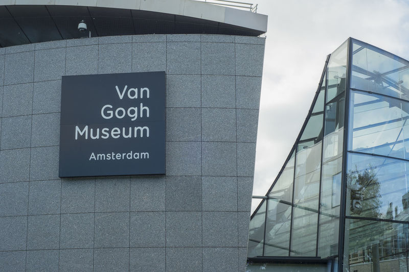 Amsterdam, the Netherlands - October 18, 2018: Close up of the Van Gogh Museum in Amsterdam, displaying Van Gogh's artwork a populair and famous dutch painter with the Post-Impressionism art style Amsterdam Van Gogh Museum Museum Tourism Van Gogh Text Architecture Sign Building Exterior Glass - Material Modern Low Angle View Outdoors Information Sign Built Structure