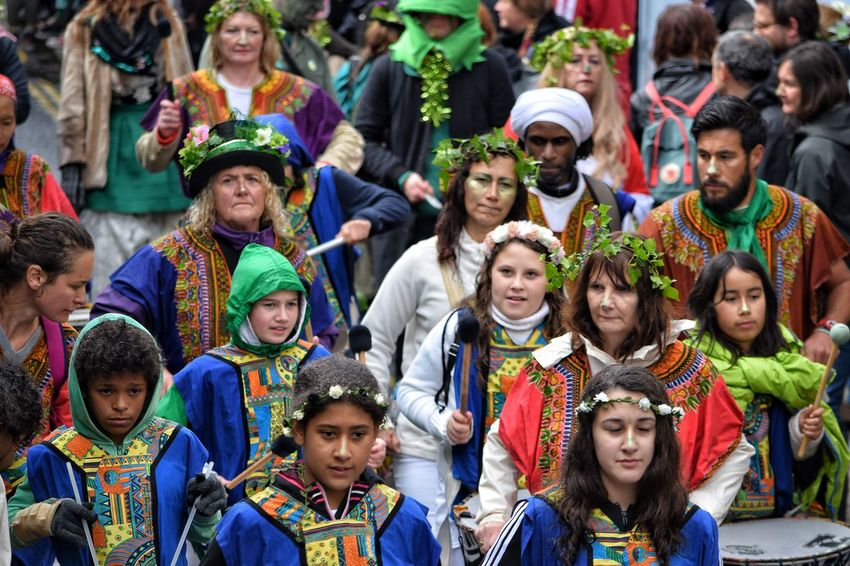 Jack In The Green Festival Hastings Focus On Foreground Pagan Festival May Day 2017 East Sussex Jack In The Green Carnival Tradition Headdress Traditional Dancing Performance Cultures Large Group Of People Celebration Tradition Traditional Clothing Outdoors Women Crowd Looking At Camera Disguise Multi Colored Freshness Arts Culture And Entertainment