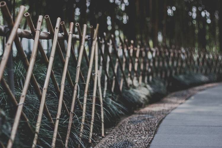 Fence On Footpath In Park