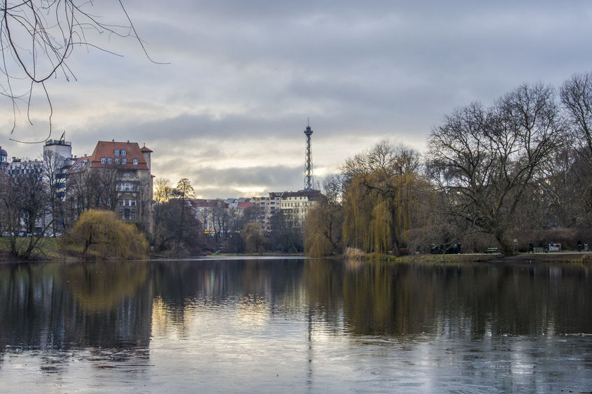 Photowalk in my neighborhood last sunday Berlin Dramatic Sky Funkturm Funkturm Berlin Architecture Built Structure City Cloud - Sky Day Nature No People Reflection Sky Travel Destinations Tree Water Waterfront
