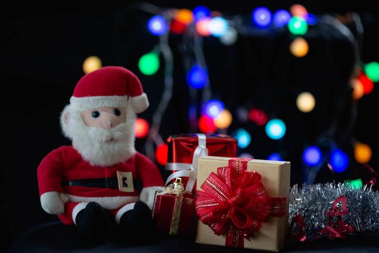 Illuminated christmas lights in box