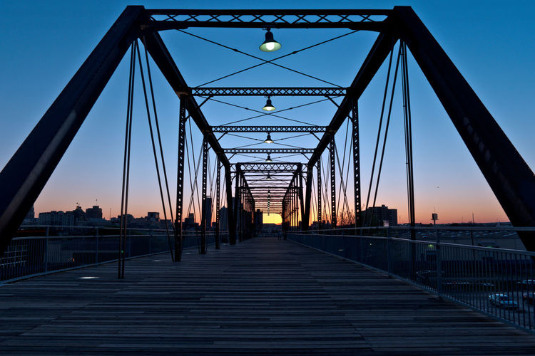 Hayes Street Bridge in San Antonio at Dusk with the Sun Setting Blue Bridge Dusk Dusk Colours Dusk In The City Dusk Sky Historic Historic Bridge Historic Site Orange Outdoors San Antonio Sun Sunset Sunset_collection Texas Travel Destinations