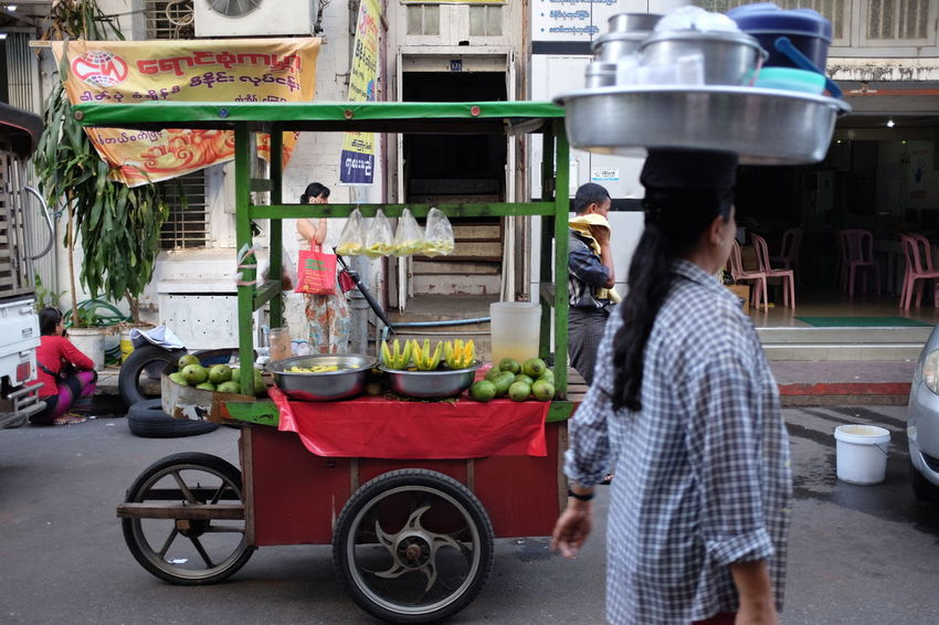 Street Fruit Vendor in Yangon. Burmese Fruit Vendor FujiX100T Myanmar Rangoon Southeastasia Street Food Worldwide Street Vendor Streetphotography X100t Yangon Adventures In The City