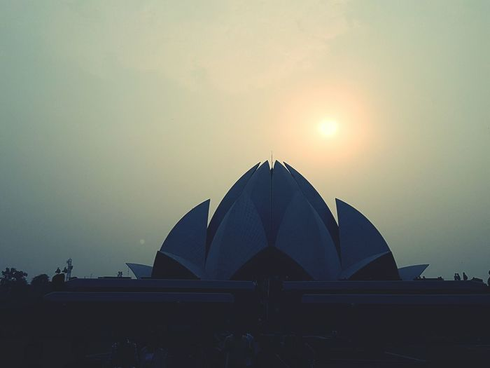 Lotus Temple Against Sky During Sunset