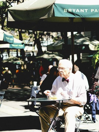 Bryant Park NYC City Lunch Lunch Break Bow Tie Real People Senior Adult Sitting Street Photography