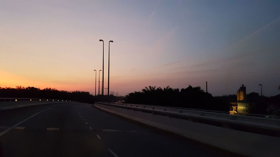 Travel Sunrise Morning Light Dawn Of A New Day Blue Sky Steel Structure  Towers Powerlines Power Supply Cabels Landscape Sunset No People Silhouette Road