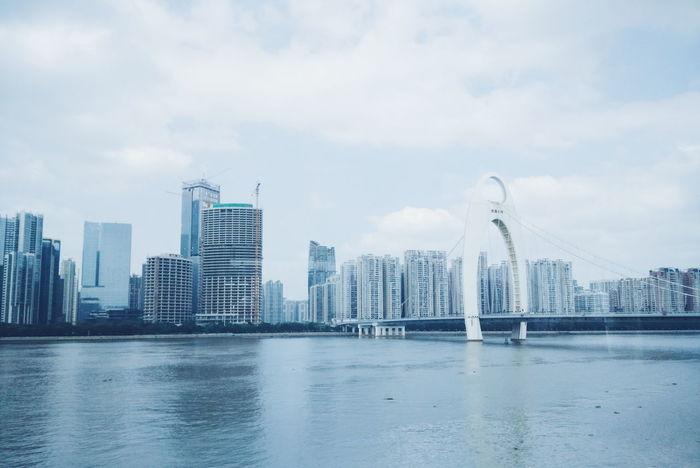 Architecture Blue Bridge Bridges Building Canon China City Guangzhou Photography River Sky View