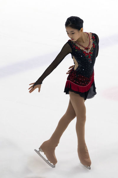 Kam Yunkyung, A Korean Female Figure Skater Asian  Athlete Figure Skating Ice Arena Ice Rink Ice-skating Kam Yunkyun Korean Winter Sport Female Figure Skater Front View Full Length Full Length Portrait Indoors  Korean Girl One Person Portrait Real People Real People, Real Lives Short Program White Background Young Adult Young Woman Young Women