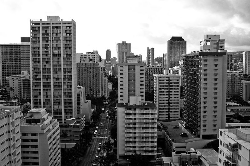 Waikiki Hawaii Oahu Copy Space Horizontal Travel Photography Travel Destination Black And White Photography Black & White Photography B & W Photography Densely Populated Densely Built Urbanity Building Exterior Built Structure Architecture Building City Cityscape Office Building Exterior Skyscraper Tall - High Urban Skyline Modern Residential District Development No People