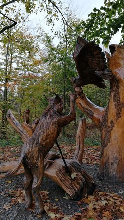 Animal Representation Tree Statue Sculpture Carving - Craft Product Art