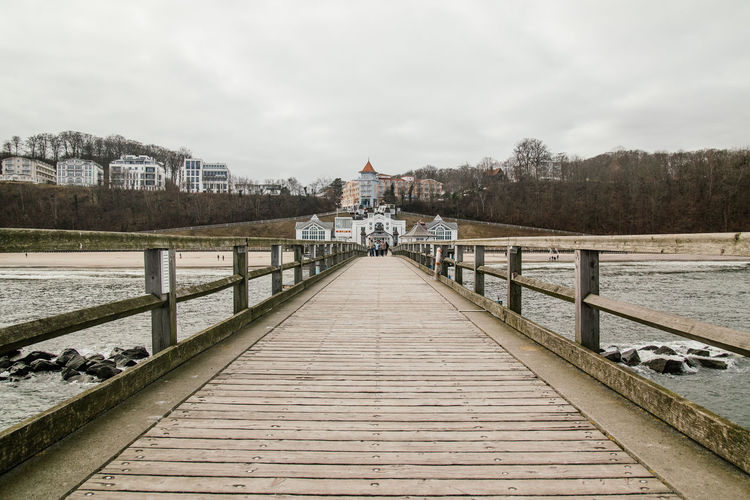 Seebad Bansin on the island Rügen, bridge over water Baltic Sea Bridge Over Water Relaxing Rügen Travel Vacations Wintertime Bansin Beach Beachphotography Bridge Bridge View Empty Bridge Getting Inspired Island Islandlife No People Northern Germany Outdoors Relax Seebad