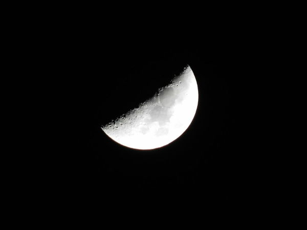 "Enjoy the ""big"" but also small things in life #moon Beautiful Dark Half Moon Moonlight Night Nikon B500 Outdoors Photography Sky Space Zoomed In Shot Of Moon First Eyeem Photo"
