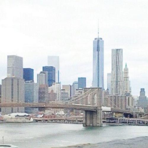 Brooklyn Bridge  shot from Manhattan Bridge Freedom Tower Skyline