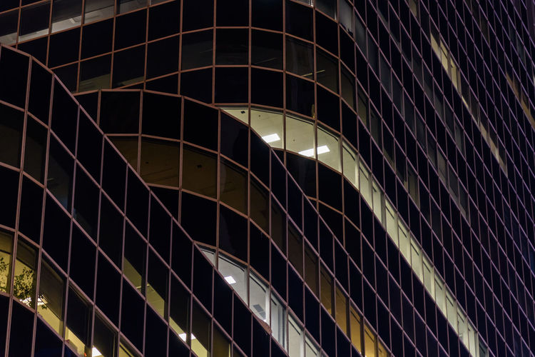 Night Illuminated Architecture Building Exterior City Built Structure No People Building Low Angle View Full Frame Modern Pattern Window Glass - Material Office Reflection Backgrounds Outdoors Geometric Shape Office Building Exterior Skyscraper