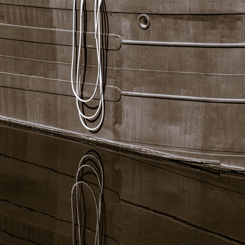 Close-up of metallic structure on wall